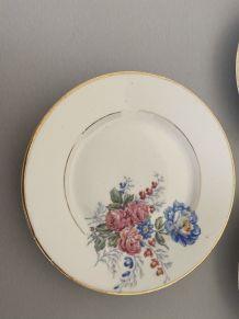 4 assiettes porcelaines fleuris vintage