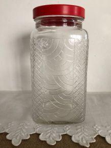 Ancien bocal volutes - Bouchon rouge