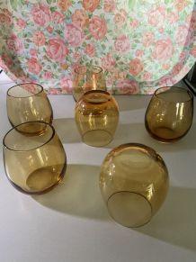 6 verres ambrés année 70's