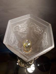 GRANDE LAMPE bronze  ART  NOUVEAU TULIPE   pressé  signé  LA