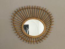 Miroir soleil en rotin type ORTF. 60x50cm. 1960.