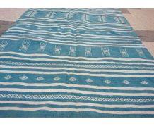 Tapis kilim bleu et blanc fait main en pure laine