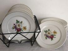 6 assiettes plates Badonviller, porcelaine opaque