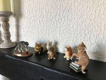 Lot de 6 figurines animaux ceramique et résine