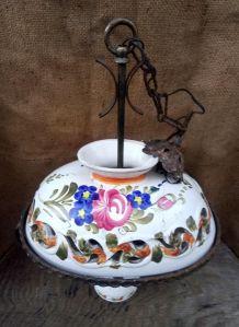 Lustre ancien en céramique (décor floral)