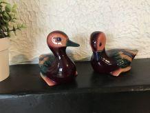 2 statuettes de canards en résine