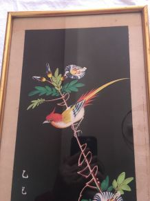 Ancienne peinture sur soie