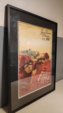 affiche publicitaire Fiat encadrée imprimée en Italie