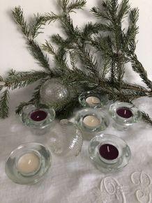 Série de 6 bougeoirs en verre, décor de Noël