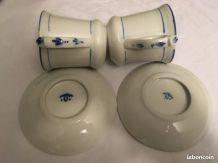 Paire de Tasse brûlot en porcelaine épaisse avec soucoupe -