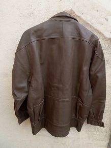 veste femme  en cuir marron , vintage