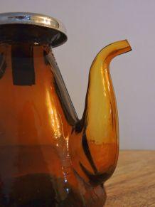 Mini vinaigrier vintage de table en verre ambré
