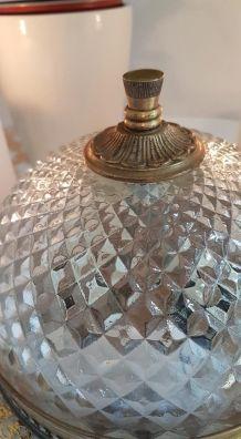 Ancien plafonnier en verre et laiton