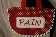 Sac à pain shabby-chic Lin et broderie ancienne f main