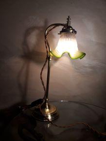lampe reglable laiton style art déco en laiton et tulipe ver