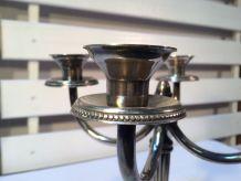 Candélabre chandelier ancien 4 bras 4 feux en métal argenté