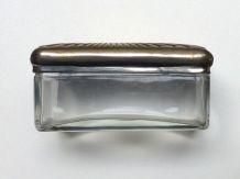 Boîte à savon ancienne métal et verre