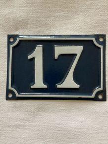 Plaque émaillée numéro de rue 17