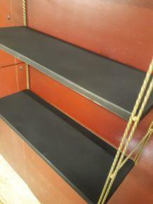 Etagere vintage string black mat et montants torsadé or. 49x