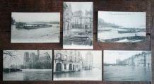 Paris inondations 1910 - 6 cartes postales anciennes
