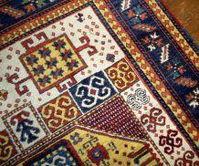 Tapis vintage Caucasien Kazak Karachov fait main, 1B36