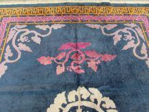 Tapis vintage Chinois Art Deco fait main, 1Q0342