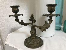 Chandelier deux bras en bronze