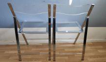 chaises pliantes en plexi et métal chromé vintage