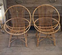 Paire de fauteuils en rotin années 70