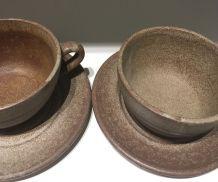 Ensemble tasses café grès mat Vallauris années 70