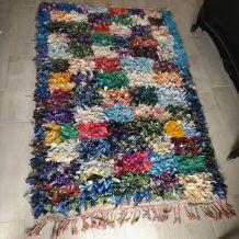 Tapis vintage 1970 boucherouite à carrés 190 x 120 cm
