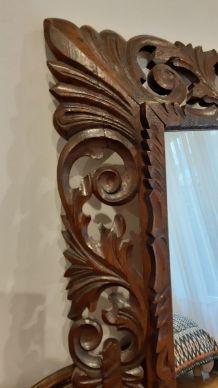 Miroir bois sculpté