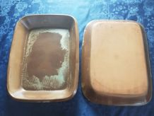 2 grand plat de cuisson rectangulaire en poterie