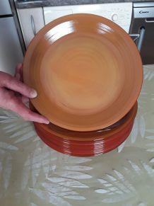 12 assiettes marron