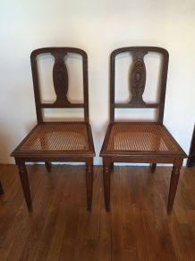 Paire de chaises art déco cannées