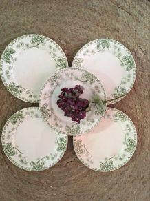 """Assiettes dessert U&C Sarreguemines modèle""""Palmyre""""."""