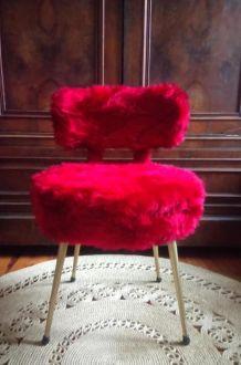 Chaise Pelfran moumoute rouge - Années 60/70