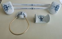 Ensemble  salle de bain Porcelaine de Paris, décor Lamballe