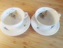 2 tasses à café/soucoupes Georges Boyer 'La pastorale'