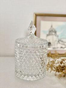 Bonbonnière/pot diamanté en verre