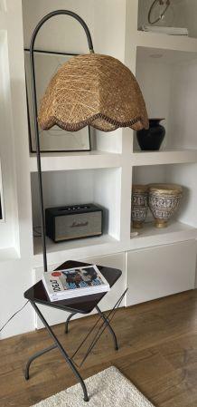 Lampadaire vintage rotin