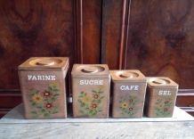 Ensemble de boites à épices en bois - Années 60