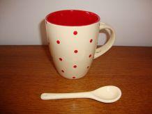 Lot de 5 mugs vintage beige à petits pois