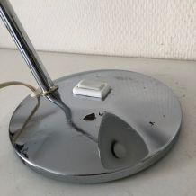 Lampe vintage 1960 bureau Aluminor chromée - 37 cm