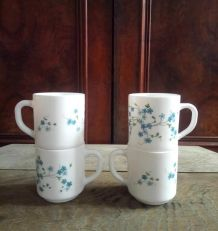 4 mugs Arcopal - Collection Veronica (myosotis)