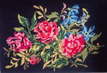 Cadre canevas des années 70/80 - Décor roses