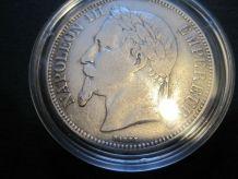 5 francs Napoleon iii   empereur 1868  BB Argent dans capsul