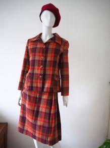 Ensemble tailleur veste et jupe plissée  tartan  laine 60s