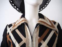 Robe midi col pelle à tarte en laine vintage 60's 70's