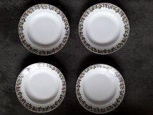 1 lot de 4 assiettes en céramique Limoges des années 50.
